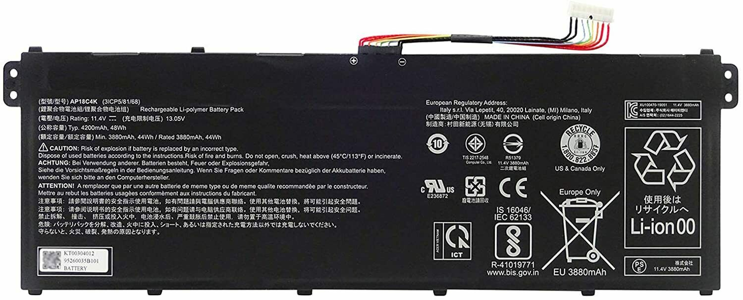 Genuine New Laptop Batterie AP18C4K For Aspire 5 A515-43 A515-54 SP314-54N