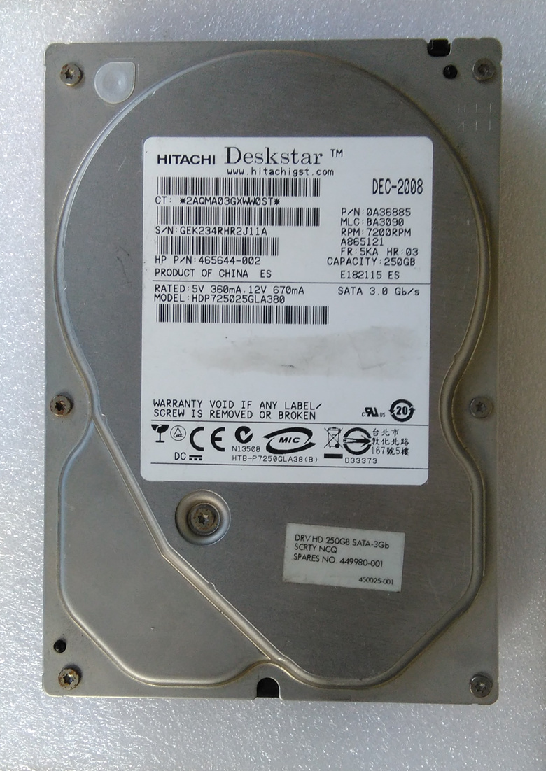 "HDP725025GLA380 250GB 3.5"" HDD"