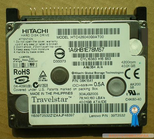 "Hitachi 1.8 ""notebook DISQUE DUR 40GB HTC426040F9AT00"