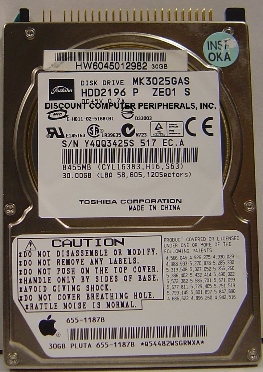 "2.5"" Toshiba MK3025GAS 30GB 4200RPM disque dur"