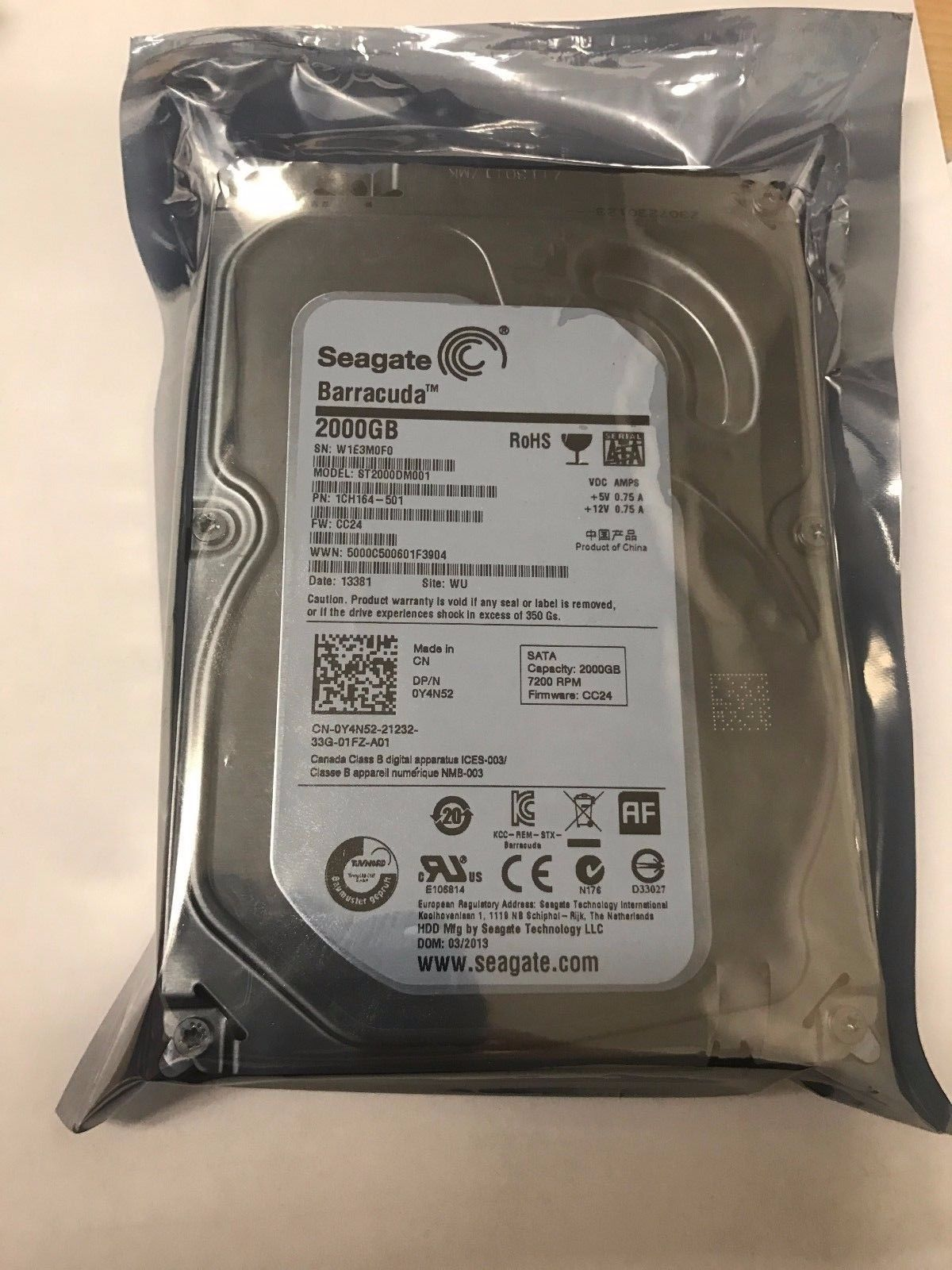 ST2000DM001 2TB 7200RPM SATA3 HDD
