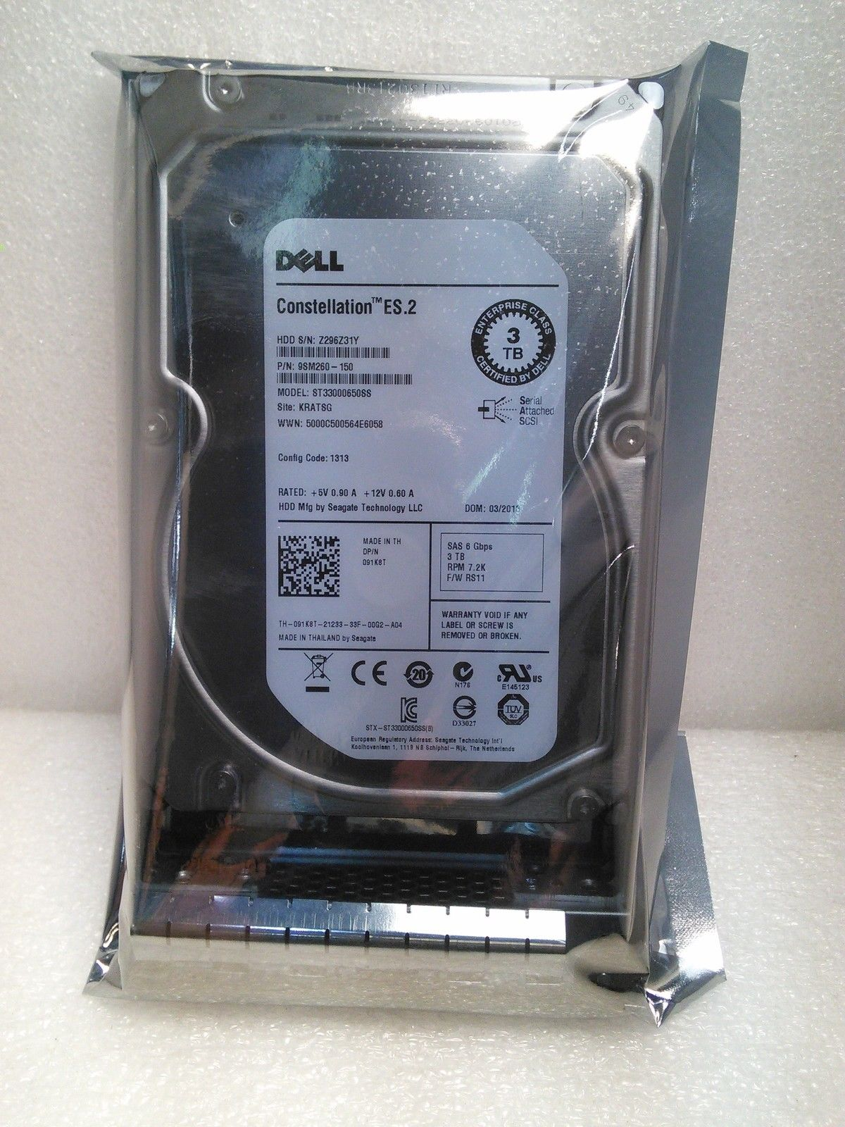 Dell 3TB 64MB ST33000650SS SAS Batterie PC Portable