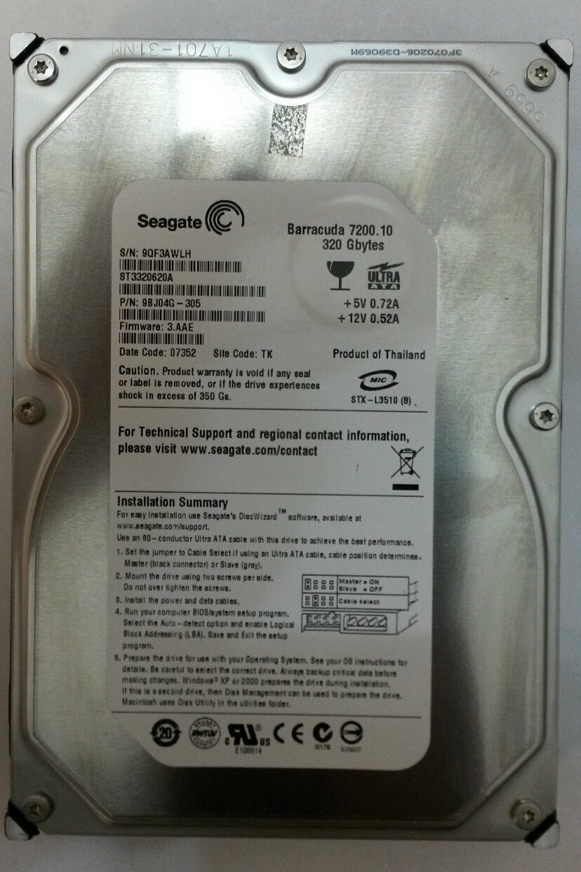 "3.5"" Seagate ST3320620A 16MB 320GB HDD"
