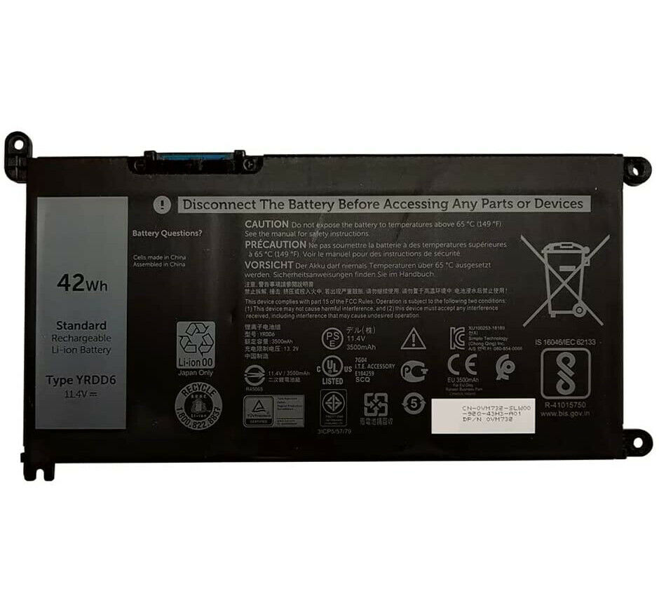 REPLACEMENT YRDD6 BATTERIE FOR DELL INSPIRON 5482 5493 5593 VOSTRO 5481 5581 42WH